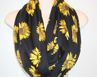 Sunflower Infinity Scarf -  Infinity Scarf -  Loop Scarf - Flower Scarf