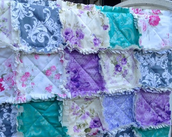 Crib Rag Quilt, Baby Girl Purple Baby Quilt Pink Gray Aqua Roses Hot Pink Crib Bedding Bedding Shabby Chic Style Lavender Nursery Decor