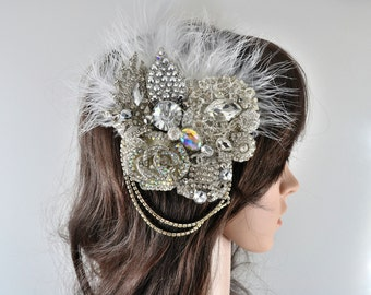 Swarovski crystal Silver White Crystal & Feather Pearl Chain Classic Vintage Bridal Hair Comb Piece Slide