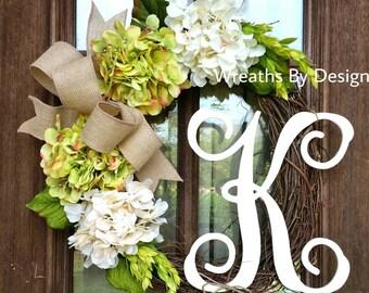 Green and Cream Hydrangea Wreath-Monogram Wreath-Initial Summer Wreath- year Round Wreath-Door Wreath- Fall Wreath-Cream Hydrangea