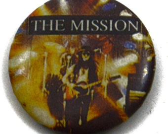 Vintage 80s The Mission Goth Darkwave Pinback Button Pin Badge