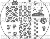 Nail Art Stamping Image Plate MM50 -  Cats Themed
