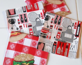 Summer, Barbecue, Reversible,   Coaster, Set of 4
