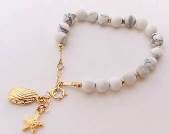 Gold filled bracelet with howlite stones