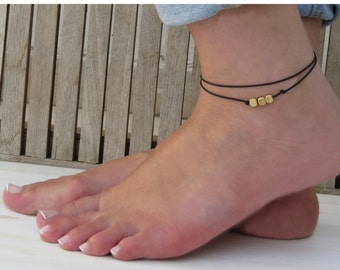 Anklet Bracelet, Gold ankle, Beach anklets, Black anklet, Foot bracelet, Delicate gold anklet, Summer jewelry
