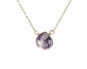 Opal necklace - morado opal necklace - purple opal - teardrop opal - a faceted opal teardrop wire wrapped onto a 14k gold vermeil chain