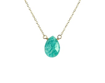 Amazonite necklace -  green amazonite - gemstone necklace - august birthstone - a wire wrapped green amazonite on a 14k gold vermeil chain