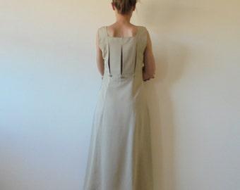 Vintage Cream Dress.Womens Long  Dress.