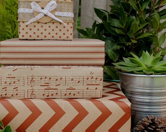 Vintage Red & Kraft Wrapping Paper Kit