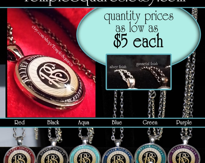 Jewelry Relief Society Emblem Pendant Necklace LDS Charity Never Faileth Presidency or Visiting Teaching Gift. New Price of 5 Dollars each!