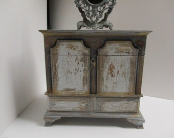 hand painted european design jewelry box aged gold gilt patina stone white wash - Large Jewelry Armoire