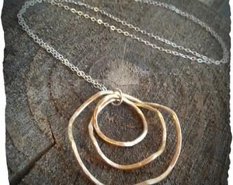 Brass Wavy Hoop Sterling Silver Necklace