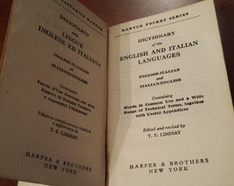 1948 English Italian and Italian English Dictionary - Harper & Brothers New York