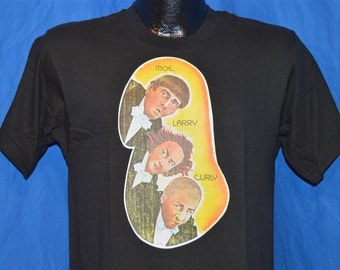80s Three Stooges Moe Larry Curly Iron On Black Vintage t-shirt Medium