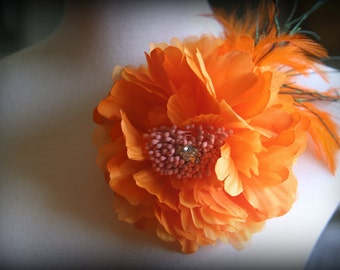 Marigold Fabric Flower Clip and Brooch ~ With Feathers and Rhinestone Center ~ has both clip and brooch attachment FL-231