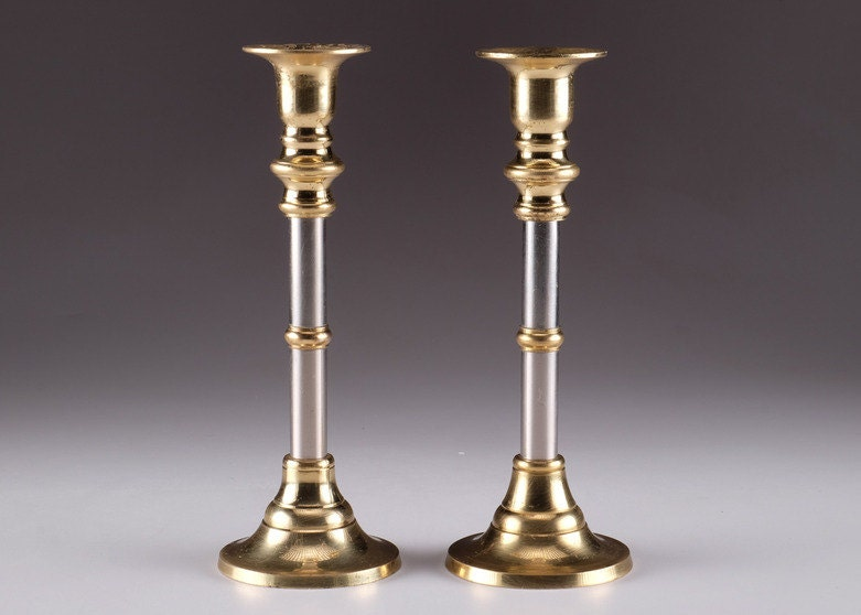 Gold Tone Candle Wall Sconces : Pair of Vintage Gold and Silver Tone Candle Holders