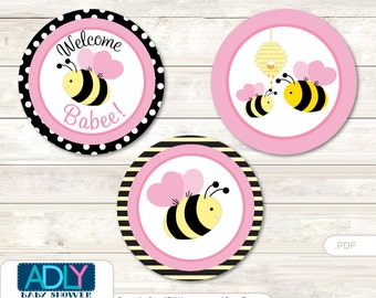 Pink Bumble Bee Candy Kisses circles Printable for Baby Pink Shower DIY Babee , Yellow - ao122bs20