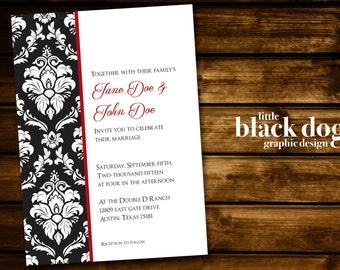 Simple Black and White Damask Wedding invitation