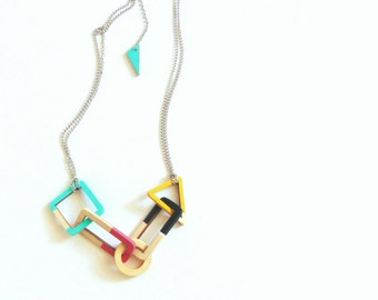 Geometric Link Necklace, Wood Necklace, Geometric Jewelry