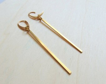 Stick Earrings,  Minimalist Brass Earrings, Geometric Jewelry