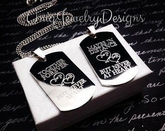 Personalized Couples Medium Dog Tag + Her One His Only + Valentine gift +His and Hers Dog Tag Set + Couples Jewelry Set + His and Her Set