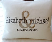 monogrammed engagement/wedding/anniversary pillow