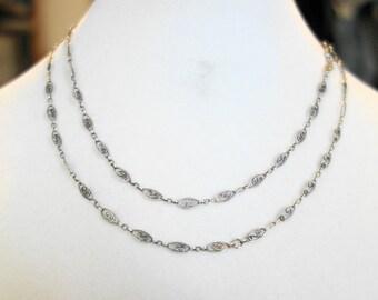 Vintage  Silver Long Fancy Link Handmade Chain