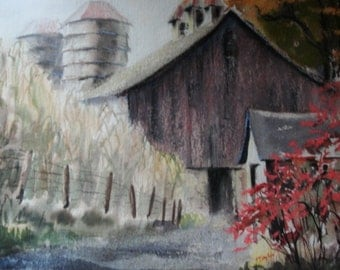 "Original Watercolor Signed M Saylor Titled ""The Barn"" very Nice."