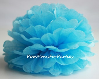 1 High Quality BABY BLUE Tissue Pom Pom - Choose any of 50 colours - Hanging  Paper flower - Tissue paper balls - Tissue paper pom poms