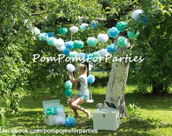 HANGING GARLAND Medium size Paper Pom Poms Open Air Party
