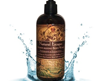 Peppermint & Eucalyptus Moisturizing Body Wash, Organic body wash, all natural body wash, sulfate free body wash, gentle body wash, dry skin