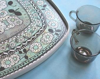 Vintage serving tray melamine flower pattern