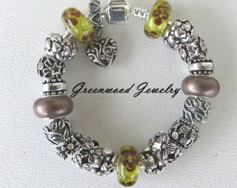 Beautiful Browns,  European Style Charm Bracelet -  Lampwork Glass And Crystal Beads and Charms