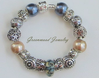 Autumn Bliss - European Style Charm Bracelet - Brown Lampwork Glass  Beads and Charms