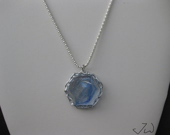 Sky Blue Glass necklace with Chain