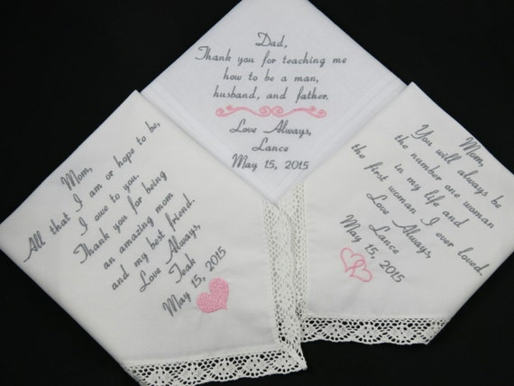 Wedding Gifts For Father In Law : WEDDING GIFTS for Mom Dad and Mother in law set of 3 Embroidered ...