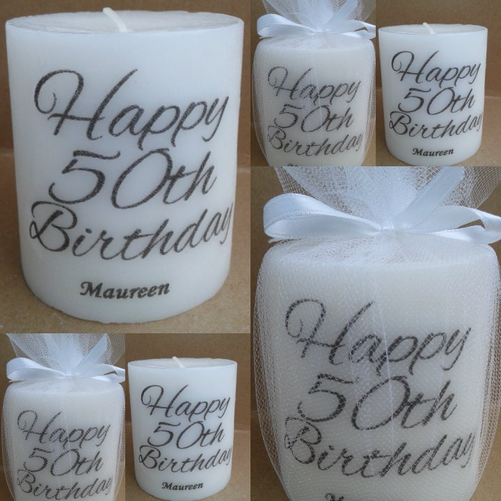 Unique 50th Anniversary Decoration Ideas: Personalized 50th Birthday 50th Birthday By SassyCandleFavors