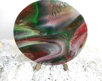 1960s Vintage, Beautiful Marbleized Motif Contemporary Glass Plate