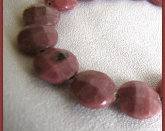 Rhodonite Gemstone Beads,  12 mm faceted Beads,  Focal Coin beads, Pink Gemstone Beads, string, strand, 15 pieces