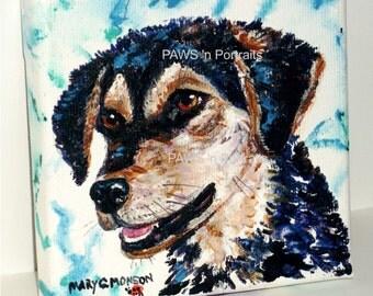 "PAWS'nPortraits - ""DOTTIE"" Dog portrait 4"" x 4"" x.75"", Original, Not Framed - FREE Shipping"