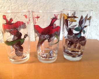 Pheasant and Wild Geese Glasses by Hazel Atlas.