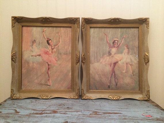 Vintage Pair Of Framed Pal Fried Ballerina Lithograph Prints