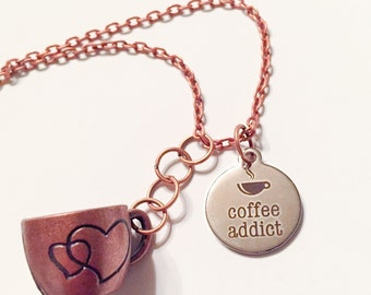 Coffee addict necklace, coffee jewelry, coffee