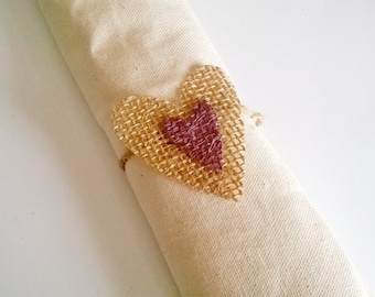 8 Burlap Wedding Napkin Rings, Heart Napkin Rings, Table Decor,Made to Order