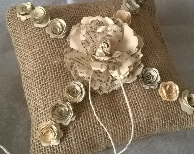 Book Page Rose , Hessian Ring Bearer Pillow , Book Page Flower Ring Cushion, Made to order, Free Shipping