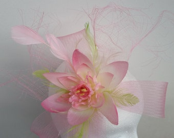 Pink Wedding Fascinator Hat with Lotus Flower and Green Feathers for Weddings,Ascot,Proms,Race/Unique
