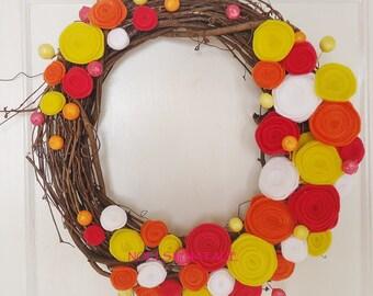 "14"" Spring/Summer Felt Flower Wreath in Hot Pink, Orange, and Yellow"