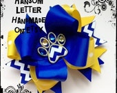Blue Chevron Paw Hair Bow Gold Yellow Ribbon Appliqué Feltie Dog Paw
