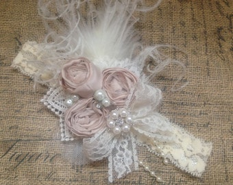 Mademoiselle rosette headband, over the top bow, vintage headband, beige headband, cream headband, couture headband, baby headband