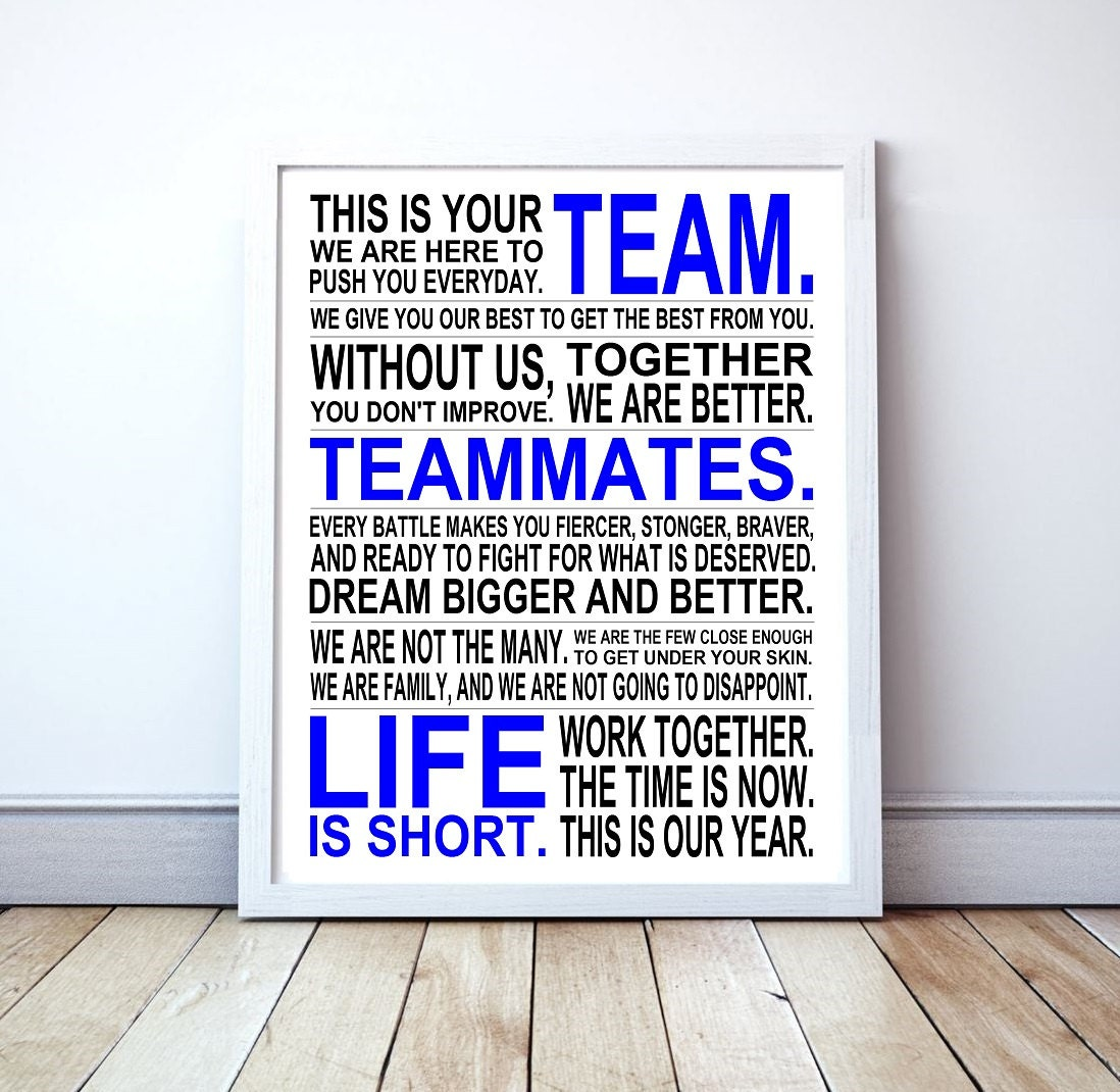 Winning Takes Teamwork Motivational Manifesto Poster Print